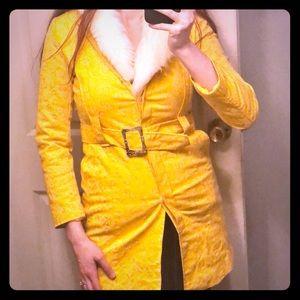 Long coat w/Faux Fur Trim Sz XS
